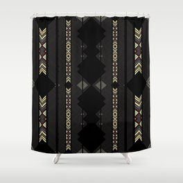 Southwestern Black Diamond Stripe Patterns Shower Curtain
