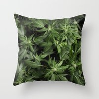 weed Throw Pillows featuring Weed by Vyacheslav Sizov