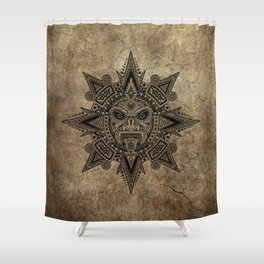 Ancient Stone Mayan Sun Mask Shower Curtain