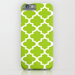 Arabesque Architecture Pattern In Lime iPhone Case