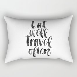 travel poster,travel gift,eat well travel often,kitchen decor,wall art,home decor,quote prints Rectangular Pillow