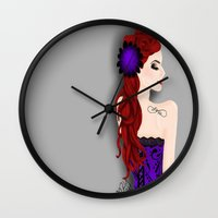 pinup Wall Clocks featuring Pinup by Crzy_Nevaeh_Art