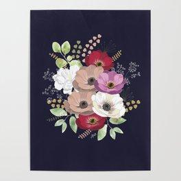 Anemones & Gardenia deep blue bouquet Poster