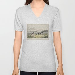 Vintage Illustration of Pointer Dogs (1846) Unisex V-Neck