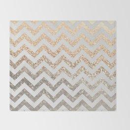 GOLD & SILVER CHEVRON Throw Blanket