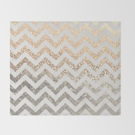 GOLD & SILVER CHEVRON Throw Blanket