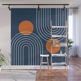 Mid Century Modern Geometric 83 in Navy Blue and Burnt Orange (Rainbow and Sun Abstraction) Wall Mural