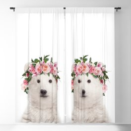 Baby Polar Bear With Flower Crown, Baby Animals Art Print By Synplus Blackout Curtain