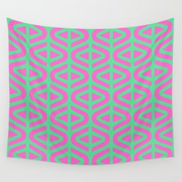 Mid Century Modern Split Triangle Pattern Pink and Green Wall Tapestry