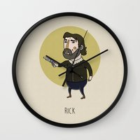 rick grimes Wall Clocks featuring The Walking Dead, Rick Grimes by Jarvis Glasses