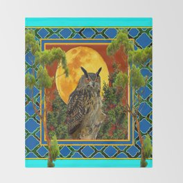 WILDERNESS OWL WITH FULL MOON & TREES TURQUOISE Throw Blanket