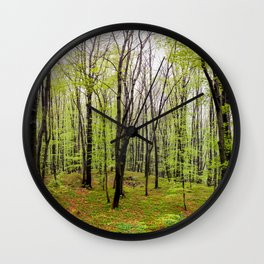 Spring green leafy deciduous forest Wall Clock