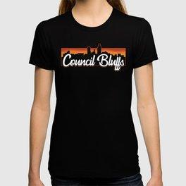 Vintage Council Bluffs Iowa Sunset Skyline T-Shirt T-shirt