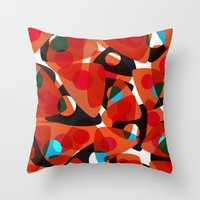 70s Throw Pillows featuring orange 70s by Matthias Hennig