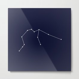Aquarius Star Sign Deep Blue Metal Print