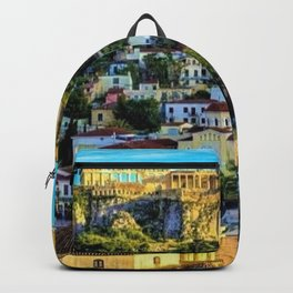 Daytime view of the Acropolis ruins; Athens, Greece Backpack