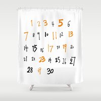 numbers Shower Curtains featuring prime numbers by taichi_k