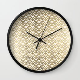 Elegant chic faux gold white japanese wave scallop pattern Wall Clock