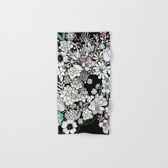 Colorful black detailed floral pattern Hand & Bath Towel