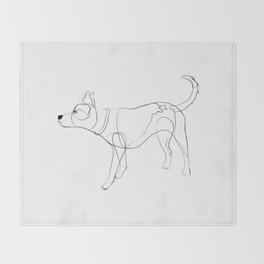 Minimalist line art drawing of Year of the Dog Throw Blanket