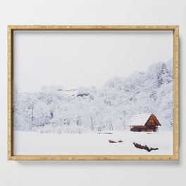 Cabin in the Snow (Color) Serving Tray