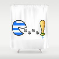 world cup Shower Curtains featuring Greece World Cup 2014 by onejyoo