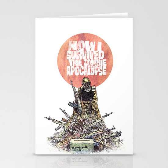 How I Survived The Zombie Apocalypse Stationery Cards