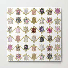 Whimsical turtles with girly floral retro pattern Metal Print