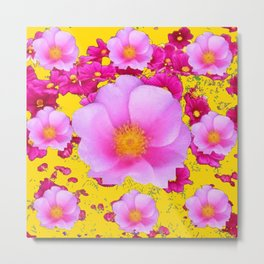 Decorative FUCHSIA  PINK ROSE FLOWERS GARDEN ON YELLOW Metal Print