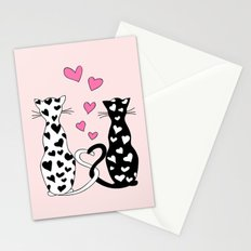 Black&white cats with hearts Stationery Cards