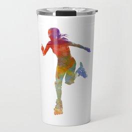 Woman in roller skates 12 in watercolor Travel Mug