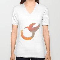 mockingjay V-neck T-shirts featuring Mockingjay by Volkan Dalyan