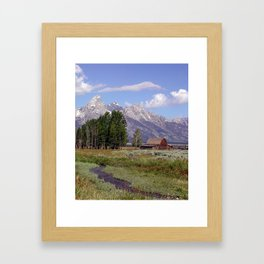 Teton Barn and Creek Framed Art Print