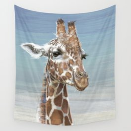Giraffe Against A Blue Sky Wall Tapestry