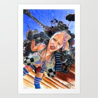 tank girl Art Prints featuring Tank Girl  by Cecil Porter Studios