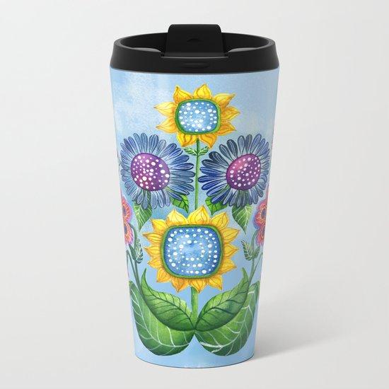 Butterflies and Flowers Metal Travel Mug