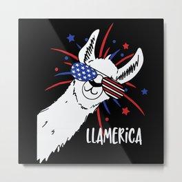 Patriotic Llamerica Alpaca Lllama Metal Print