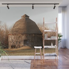 Indiana Rustic Round Barn Photography Print Wall Mural