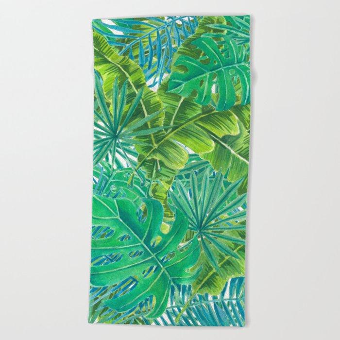 Tropcal leaves watercolor Beach Towel