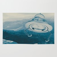 ufo Area & Throw Rugs featuring UFO III by Grafiskanstalt