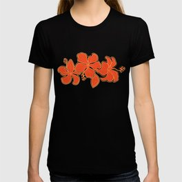 Kailua Hibiscus Hawaiian Sketchy Floral Design T-shirt