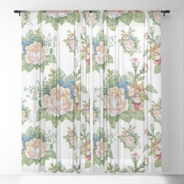 Rose flowers paint pattern Sheer Curtain