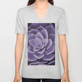succulent Blossom violet color Unisex V-Neck