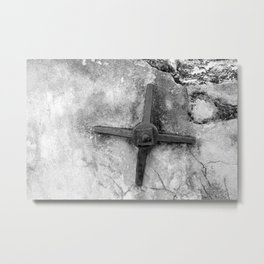 Metal cross on stone fort St Augustine texture black white photography old worn rustic wall Metal Print