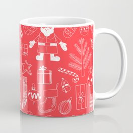 Doodle Christmas pattern red Coffee Mug