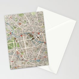 Vintage Map of Berlin Germany (1905) Stationery Cards