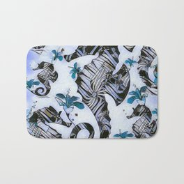 Retro Blue Seahorse Watercolor Floral Bath Mat