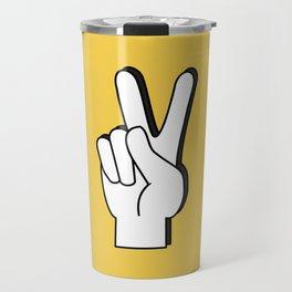Peace Sign yellow Travel Mug