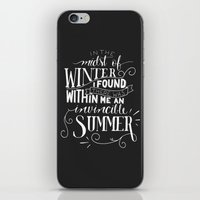 camus iPhone & iPod Skins featuring Albert Camus - In the Midst of Winter by Amber Serene