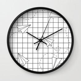 Paper Planes Grid Wall Clock